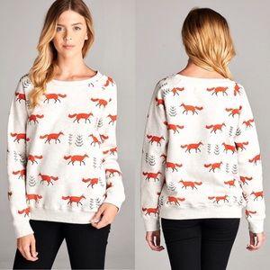 Fox 🦊 Animal Print Sweater Pullover Sweatshirt